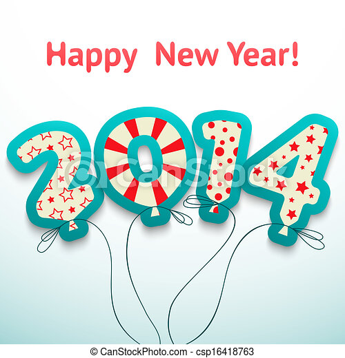 Clip Art Vector of Happy New Year 2014 retro greeting card ...