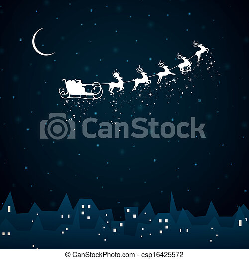 Vector Santa Claus coming to City - csp16425572