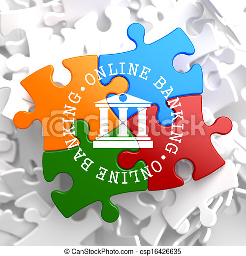 Online Banking Concept on Multicolor Puzzle. - csp16426635
