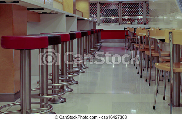 Chairs at cafe diner
