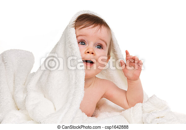 Small amazing child in the baby blanket - csp1642888