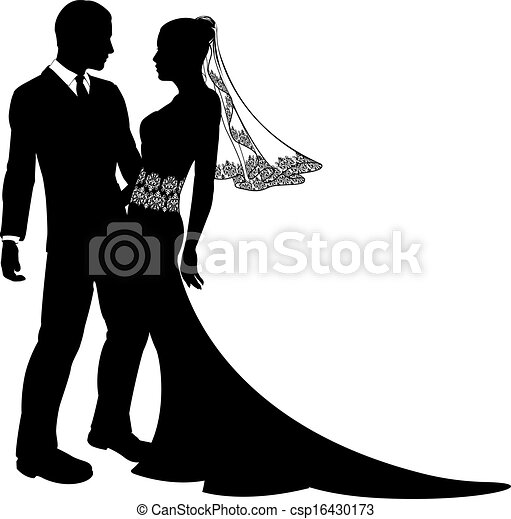 Bride and groom silhouette royalty free stock vector art illustration