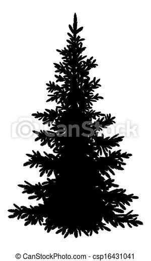 Drawing of Christmas fir tree, silhouette - Tree, Christmas fir tree ...