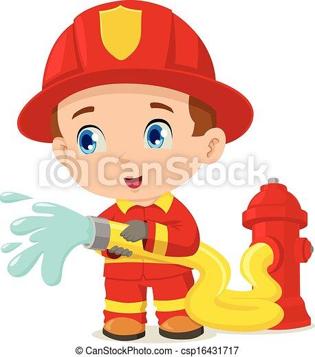 vector clip art of firefighter cartoon illustration of a Black Fireman Clip Art Fireman Coloring Pages