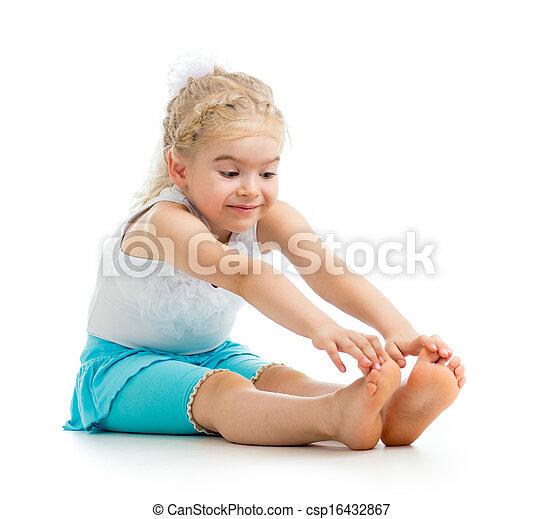 child girl doing fitness exercises - csp16432867