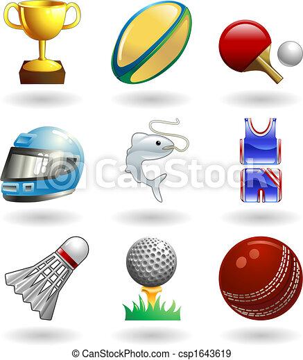 Shiny sports icon set series  - csp1643619