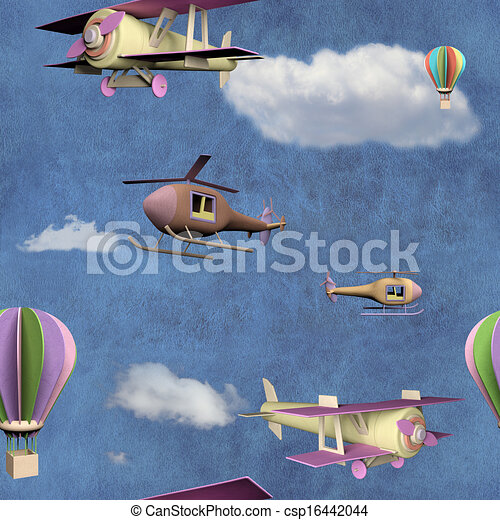Seamless pattern with flying transportation toys - csp16442044