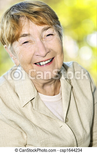 Elderly woman smiling - csp1644234