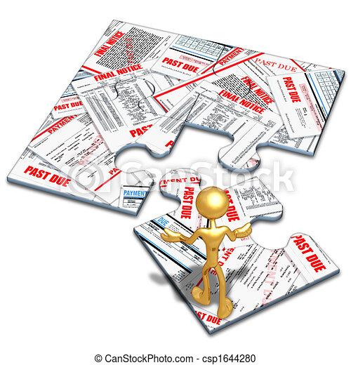 Bills And Debt Concept Puzzle - csp1644280