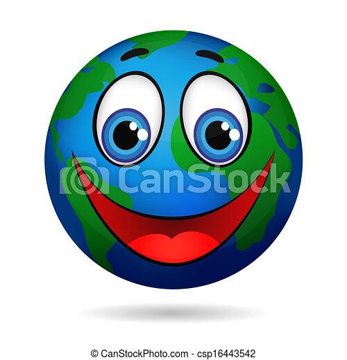 EPS vector de sonriente, planeta, tierra, caricatura, carácter ...