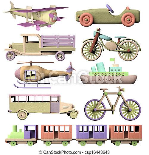 Fun set of 3d wooden transportation toys - csp16443643