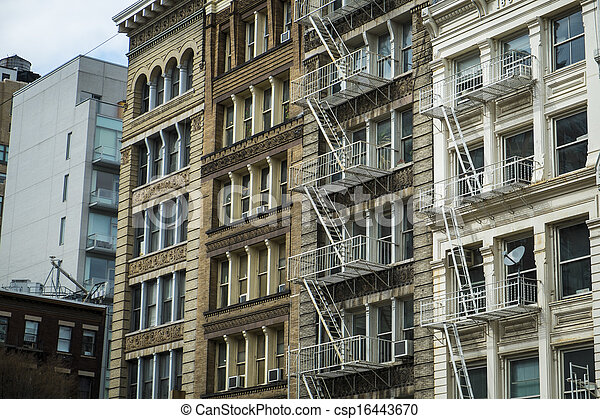 Historic buildings in New York City's Soho District - csp16443670