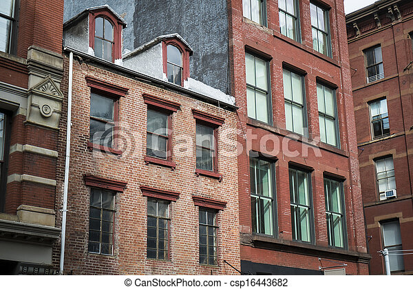 Historic buildings in New York City's Soho District - csp16443682