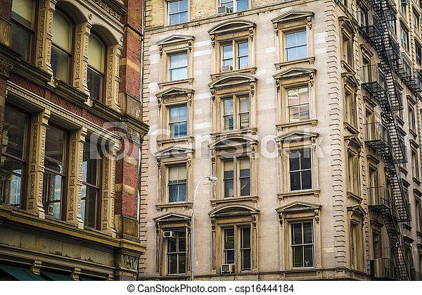 Historic buildings in New York City's Soho District - csp16444184