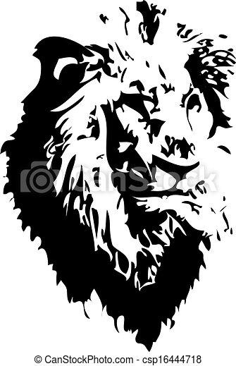 clip art vecteur de tatouage lion lion tatouage vecteur fait dans eps csp16444718. Black Bedroom Furniture Sets. Home Design Ideas