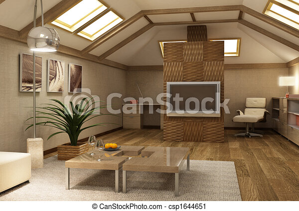 rmodern mezzanine interior 3d - csp1644651