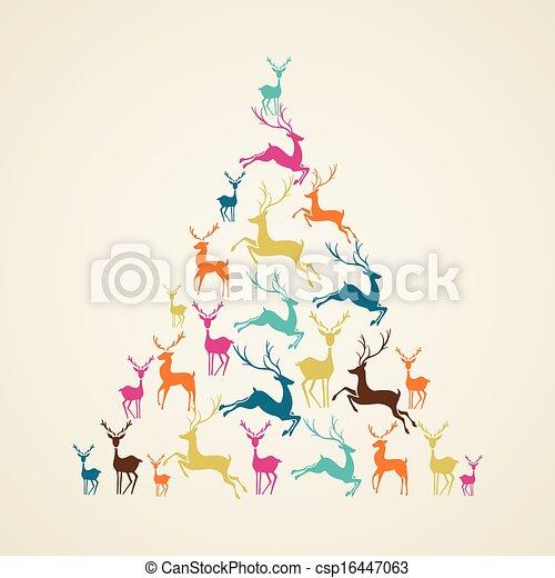 Merry Christmas reindeer pine tree shape vector. - csp16447063