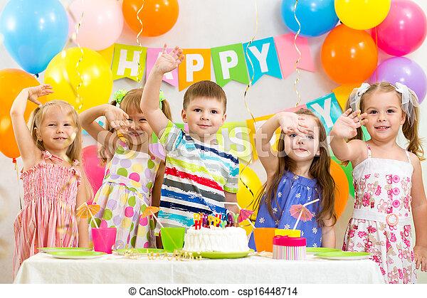 happy children celebrating birthday holiday - csp16448714
