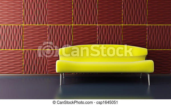 pop-art lounge room with couch - csp1645051