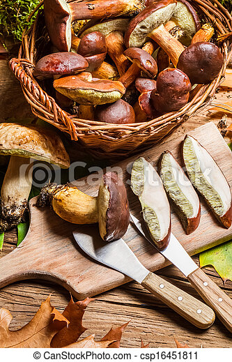 Cutting forest mushrooms in a pan