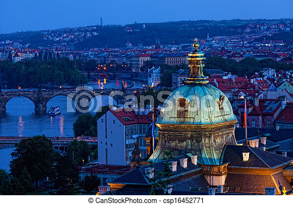 View of Prague at night: river Vltava and bridges - csp16452771