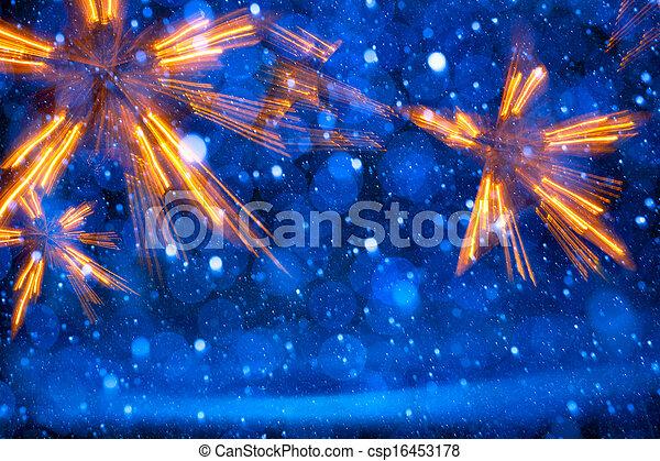藍色的燈, 藝術, 聖誕節, 背景 - csp16453178