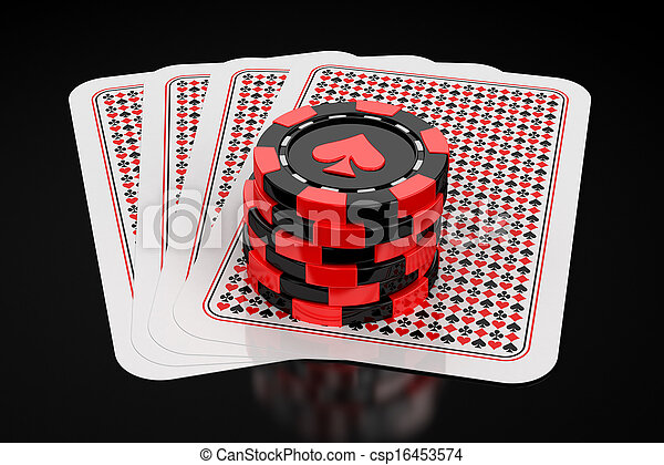 cards and gambling chips - csp16453574