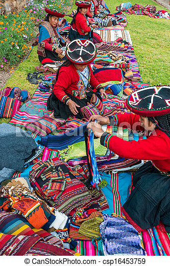 women selling handcraft peruvian Andes  Cuzco Peru - csp16453759