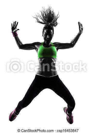 woman exercising fitness zumba dancing jumping silhouette - csp16453847
