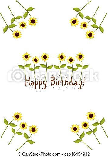 Birthday card with sunflowers - csp16454912
