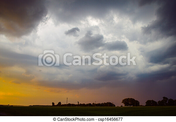 Dramatic thunder storm clouds