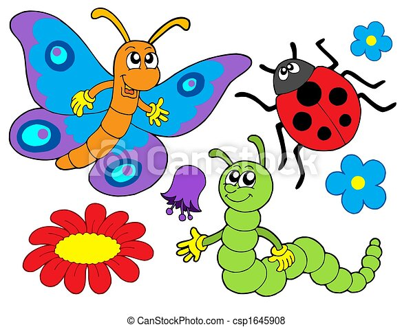 Bug and flower illustration - csp1645908