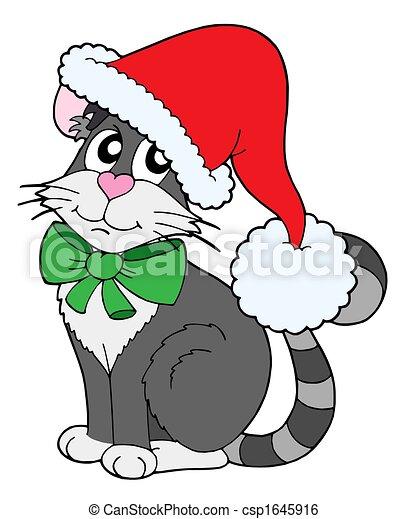 Stock de Ilustraciones , gorra, navidad, gato