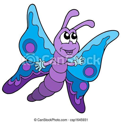 Clipart de bleu mignon pourpre papillon mignon bleu et pourpre csp1645931 - Papillon dessin couleur ...