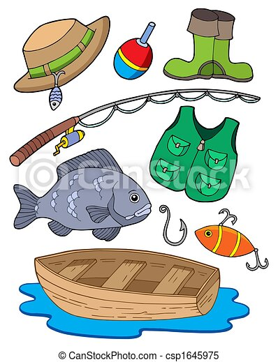 Stock illustrations of fishing equipment on white for How to get free fishing gear