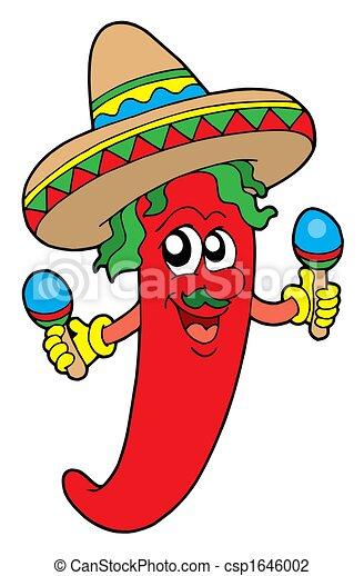 Clip art de chilli musicien mexicain mexican chilli musicien csp1646002 - Dessin du mexique ...