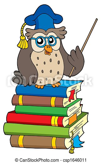 Owl teacher and books - csp1646011