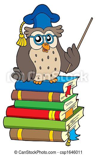 Bücherstapel clipart  Clipart von eule, buecher, lehrer - Owl, lehrer, und, buecher ...