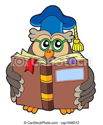 Owl teacher reading book - csp1646012