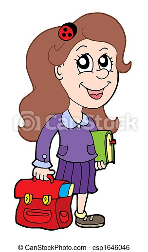 Stock Illustration of Pupil with school bag - isolated ...