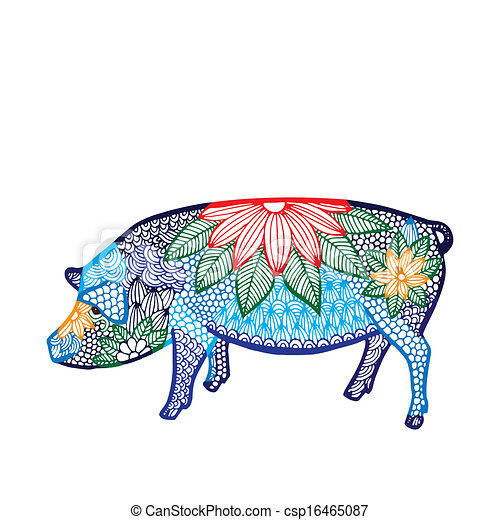 Pig illustration- Chinese zodiac  - csp16465087