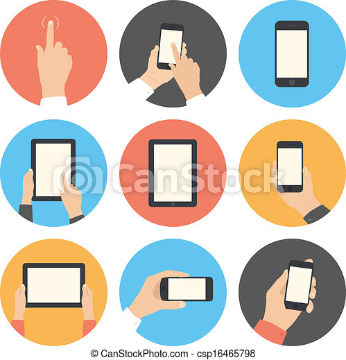 Mobile communication flat icons set - csp16465798
