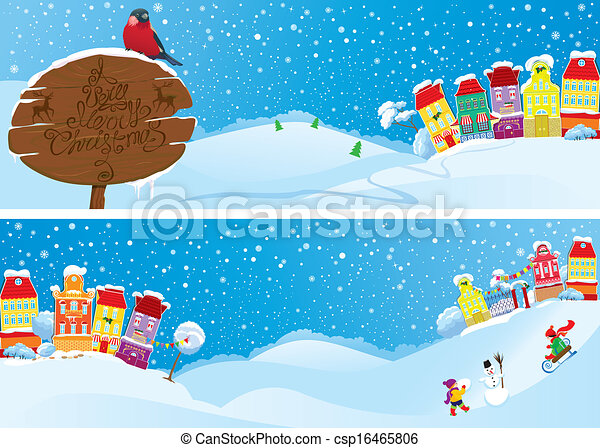 Set of horizontal banners with small fairy town on light blue sky background with decorative colorful houses in winter time. Images for Christmas and New Year design - csp16465806