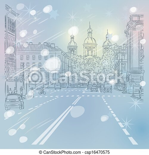 Vector Christmas winter Cityscape - csp16470575