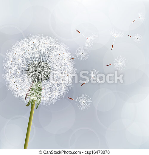 Floral trendy background with flower dandelion - csp16473078