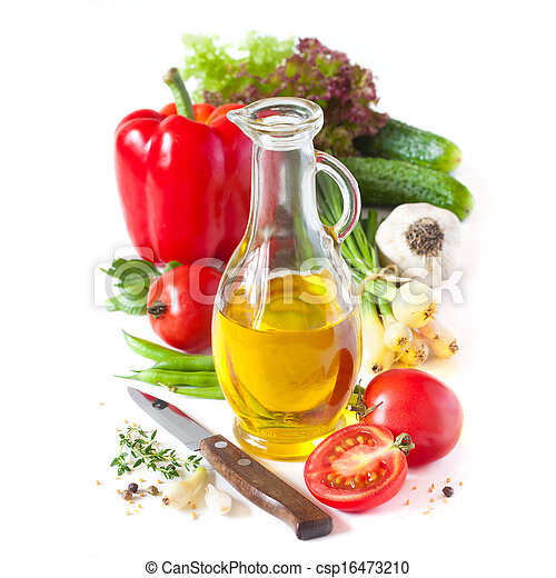Olive oil and vegetables. - csp16473210