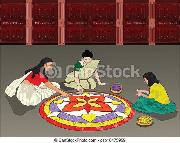 Festival Celebration Drawing Onam is a Festival Celebrated