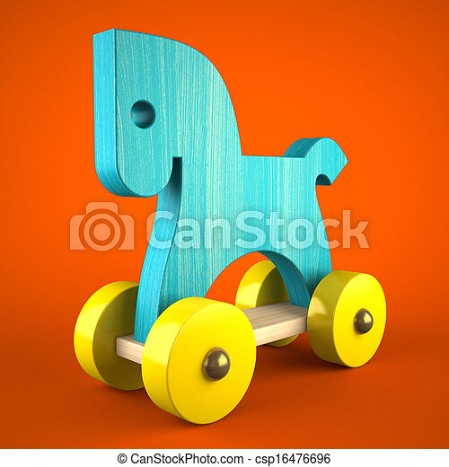 Blue wood horse toy on red background (symbol of the new year 2014) 3D - csp16476696