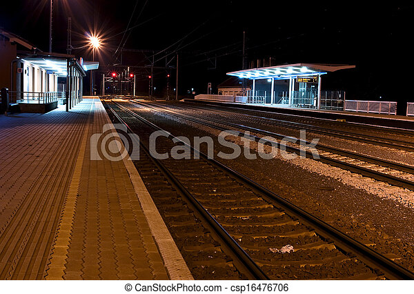 Historic train station, at night - csp16476706