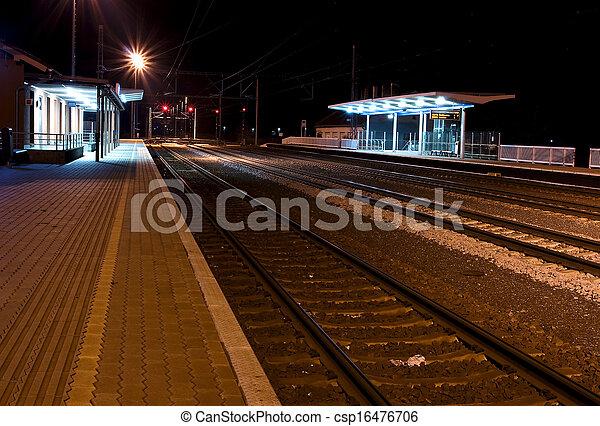 Historic train station, at night - csp16476706